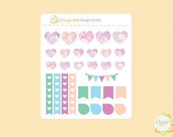 Marble Heart Stickers, Planner Extras, Planner Stickers, Marble Pattern Stickers, Erin Condren Life Planner, Happy Planner