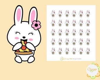 Bunny Eating Pizza Stickers, Pizza Nigth Stickers, Cheat Day Stickers, Planner Stickers