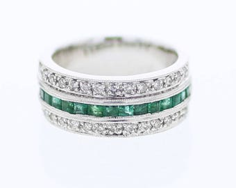 Emerald Band with Diamond