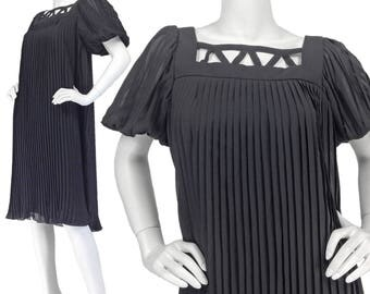 Vintage 60s Dress XS S, Chiffon Dress, Evening Dress, Pleated Dress, Little Black Dress, Puff Sleeves, Midi Dress, Flowing Dress, SIZE XS S