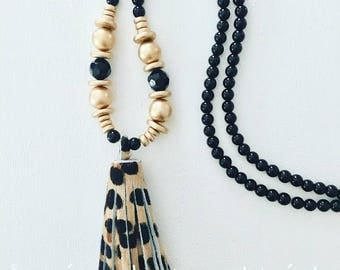 LEOPARD Print Beaded Tassel Necklace | black, gold, statement necklace, gold, animal, print, leather, fur