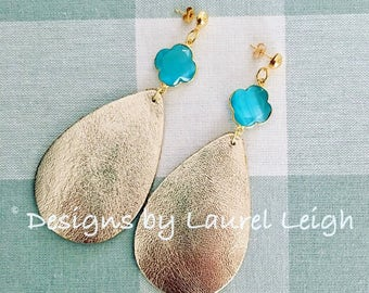 GOLD and BLUE Leather Earrings | statement earrings, clover, quatrefoil, lightweight, Designs by, Laurel Leigh, posts