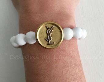 Repurposed Designer Button  Bracelet | vintage, GOLD, WHITE, stretchy