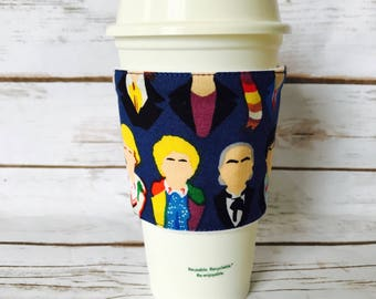 Coffee Cup Cozy, Reusable Coffee Sleeve, Doctor who Tea Cup Cozy, Personalized Gift, Custom Cup Sleeve, Eco Friendly Item,