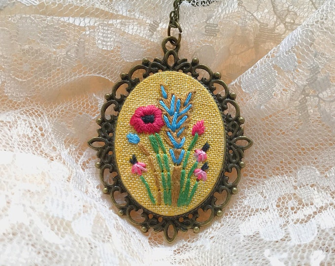 Hand Embroidered Vintage Inspired Poppy Pendant Necklace, yellow linen, boho, wildflowers