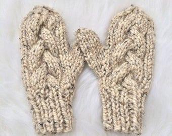 Braided Cable Mittens, Knit Mittens, Lined Wool Mittens, Cable Knit Mitts, Chunky Knit Mittens, Winter Mittens, Fleece Lined Knit Mittens