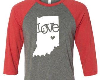 Indiana Shirt - Indiana Love Shirt- Indiana State Shirt- Valentine Day Shirt