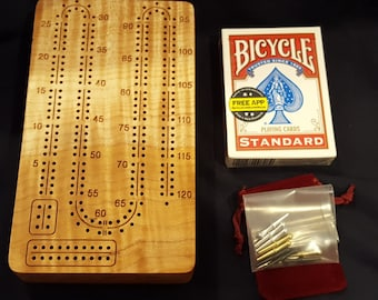 2 Player  Portable / Travel  Cribbage Board  (Fiddleback Maple) with Pegs and Cards
