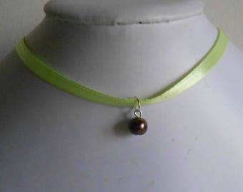 Wedding necklace adult/child pendant chocolate brown and lime green satin ribbon