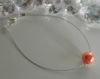 Coral solitaire Pearl wedding bracelet