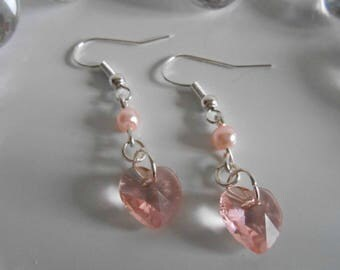 Heart and pink pearl beads earrings