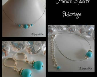Set of 3 wedding rhinestone and white pearls and turquoise pieces