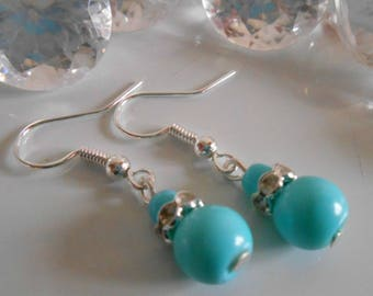 Wedding earrings turquoise beads and rhinestones