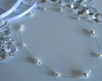 Simple and elegant wedding headband satin and white pearls