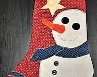 Quilted Snowman Christmas Stocking