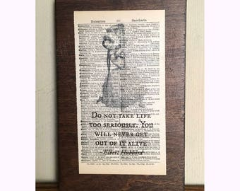 Repurposed Antique Dictionary Page Wall Décor- Elbert Hubbard