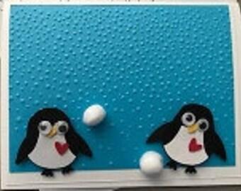 Valentine Penguin Snow Greeting Card