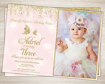 Butterfly Birthday Invitation Photo Butterfly Invitation Pink Gold Girl 1st 2nd 3rd Birthday Invitation Spring Butterfly Theme Party Invite