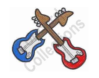 Electric Guitars - Machine Embroidery Design, Guitars - Machine Embroidery Design