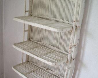Vintage 60s white rattan folding shelf