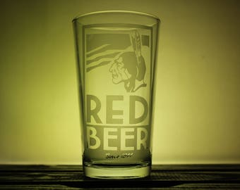 Archer Red Beer, Pint Glass, Beer Glass, Television Glassware, Sterling Archer, Wine Glass, Pilsner, Etched Glassware, Gifts