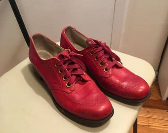 Vintage 70s Red Oxfords- Disco Shoes