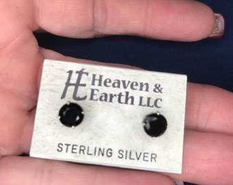 Tibetan Tektite Stud Earrings (6mm) set in 925 Sterling Silver  (Said to have Strong Kundalini; Gives you tons of ENERGY!) ss