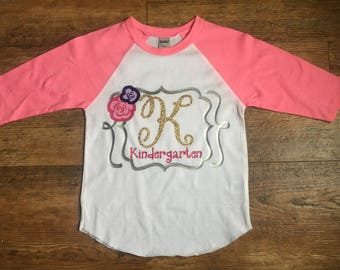 Back to school shirt| Girl Kindergarten Shirt| First Day of Kindergarten| Girl Raglan| Girl Shirt| Kindergarten Shirt