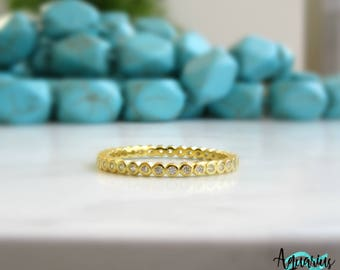 Yellow Gold  Eternity Band. Gold Wedding Band. 2mm Wedding Ring. Fine Cz Wedding Ring. Gold Eternity Ring. Full Eternity Ring.