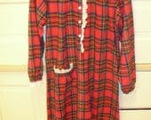 Vintage Red Plaid Flannel Nightgown