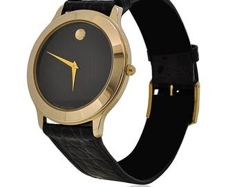 Men's Movado Museum Gold Tone Stainless Steel Black Face Wrist Watch, Mens Movado Black Watch, Vintage Movado Watch