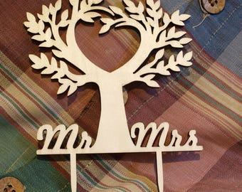 Mr and Mrs Wooden Wedding Cake Topper Tree