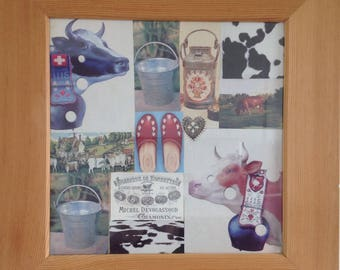"""Frame theme """"cows"""" collage framed under glass and larch."""