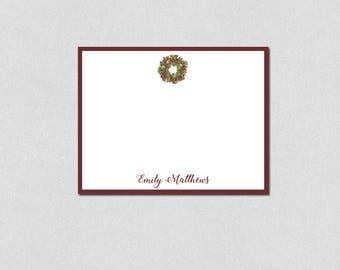 Wreath Note Card, Family Note Cards, Personalized Stationery, Flat Note Cards, Monogram Note Cards, Custom Stationery, Thank You Note