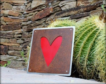 """10"""" Riveted Heart Plaque"""