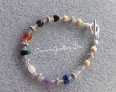 CHAKRA Gemstone Bracelet with Hematite Smoky Quartz Cornelian Malachite Rose Quartz Amethyst Lapis Lazuli  Rock Crystal