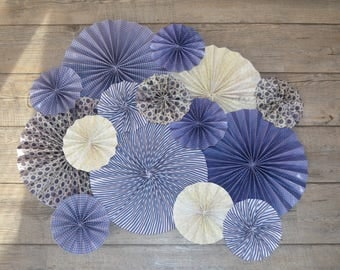 rosettes or rosettes in blue and white paper