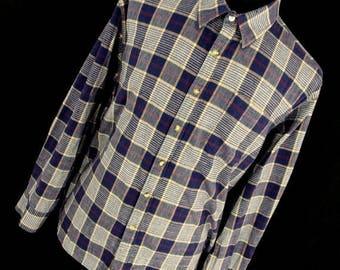 ON SALE Vintage 70s Flannel Shirt XL Blue Tan Plaid Button Down Front 90s Grunge Men's Carson Pirie Scott Long Sleeve R7
