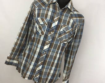 Vintage JCPenney L Large 16 16.5 Brown Blue Plaid Pearl Snap Front Western Cowboy Rodeo Mens B3