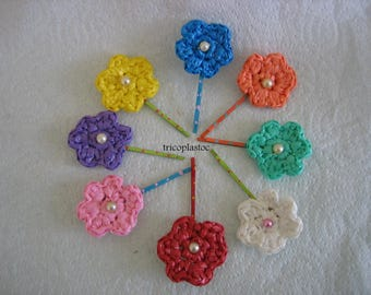 "Hair clips flowers, eight different colors crocheted handmade ""recycled"""