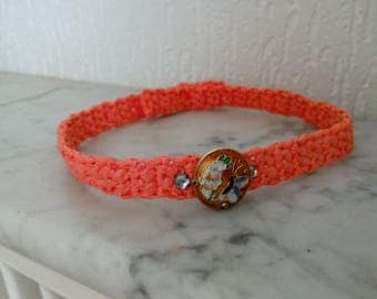 Crew neck, adjustable necklace shades of apricot, orange hand crocheted