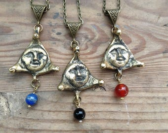 Moon - solid brass locket with cornelian