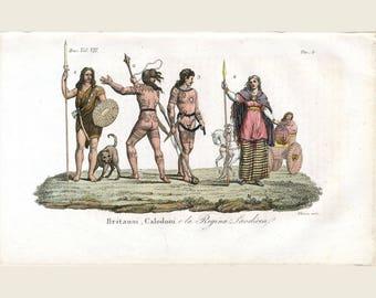 1830 Ancient Tattoos - The Caledonians Original Engraving -Ferrario Il Costume Anticoe Moderno - Brittani, Caledoni ela Regina Laodicea