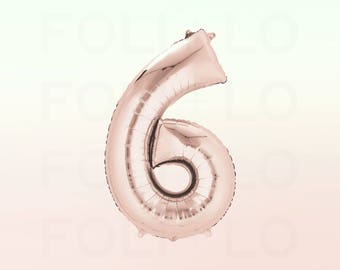 "40"" ROSE GOLD Number Balloon | 40 Inch Rose Gold Balloon | Huge Number Balloon | Giant 6 Balloon | Number Six Balloon | Jumbo Six Balloon"