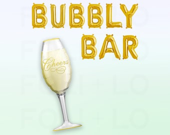 "BUBBLY BAR Balloons | HUGE Champagne Balloon | 16"" Gold Mylar Letter Balloons 