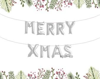 Merry XMas Balloons | Christmas Letter Balloons | Merry Christmas Decoration | Christmas Party Decoration | Silver Christmas Balloons