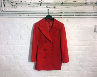 1970s style vintage red wool double breasted blazer jacket coat - UK 8 EU 36 US 6 - Glam Bowie Ziggy Stardust Seventies Studio 54