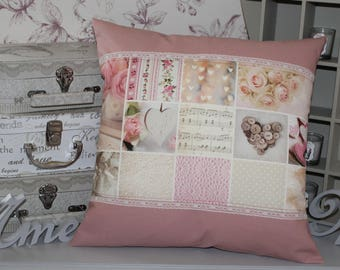 Pink NUDE 40/40 and old hearts pillow cover / lace
