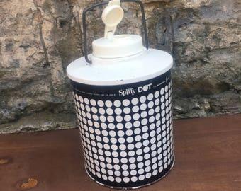 Spiffy Dot Glass Black and White Polka Dots Lined Thermos Hamilton Skotch Corp Ohio USA Vintage Retro Thermos Cooler Beverage Dispenser 1950