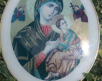 wonderful domed picture of virgin mary and jesus. angels